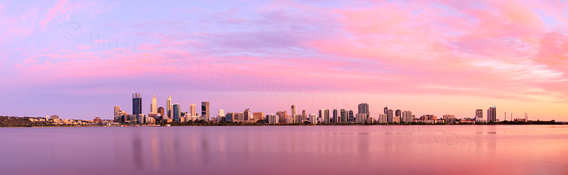 Perth and the Swan River at Sunrise, 21st December 2015