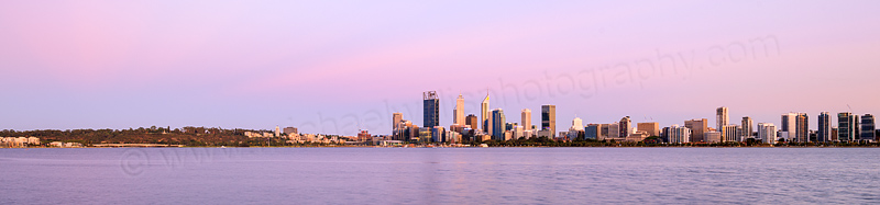 Perth and the Swan River at Sunrise, 7th January 2016