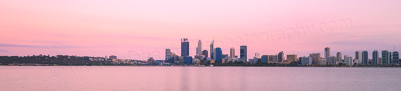 Perth and the Swan River at Sunrise, 10th January 2016