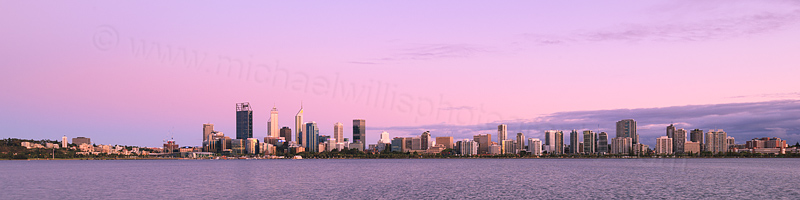 Perth and the Swan River at Sunrise, 21st January 2016