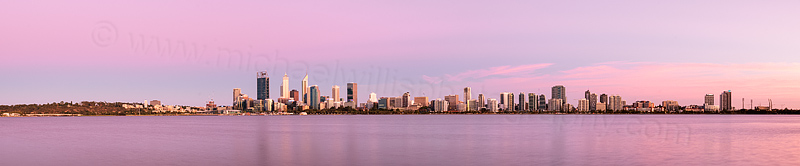 Perth and the Swan River at Sunrise, 22nd January 2016