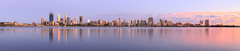 Perth and the Swan River at Sunrise, 23rd January 2016