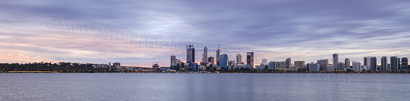 Perth and the Swan River at Sunrise, 30th January 2016