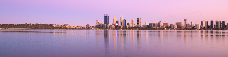 Perth and the Swan River at Sunrise, 11th February 2016