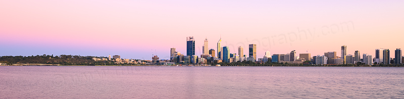 Perth and the Swan River at Sunrise, 26th February 2016