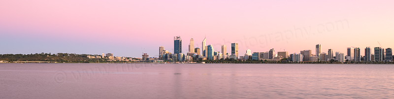 Perth and the Swan River at Sunrise, 6th March 2016