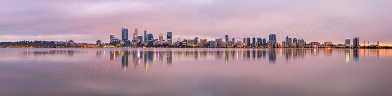 Perth and the Swan River at Sunrise, 10th March 2016