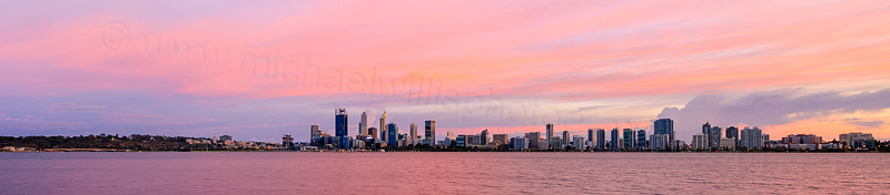 Perth and the Swan River at Sunrise, 25th March 2016