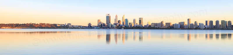 Perth and the Swan River at Sunrise, 28th March 2016