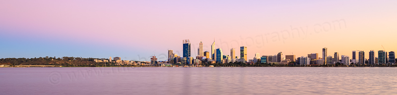 Perth and the Swan River at Sunrise, 29th March 2016