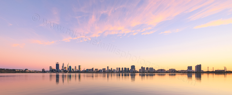 Perth and the Swan River at Sunrise, 30th March 2016