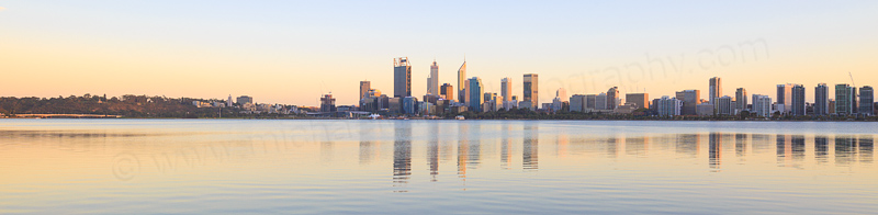 Perth and the Swan River at Sunrise, 5th April 2016