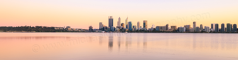 Perth and the Swan River at Sunrise, 6th April 2016