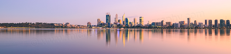 Perth and the Swan River at Sunrise, 20th April 2016