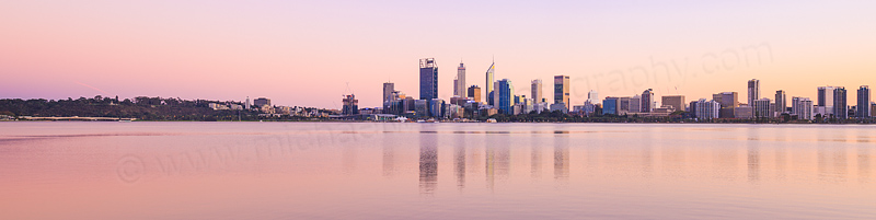 Perth and the Swan River at Sunrise, 21st April 2016