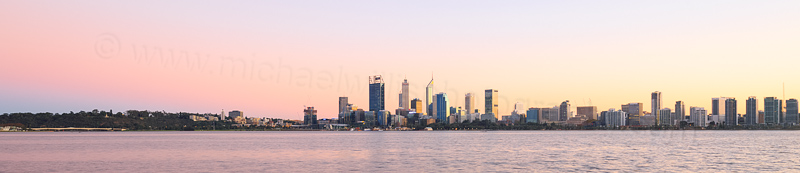 Perth and the Swan River at Sunrise, 11th May 2016