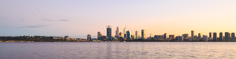 Perth and the Swan River at Sunrise, 27th May 2016
