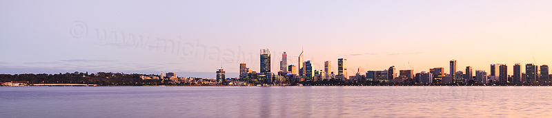 Perth and the Swan River at Sunrise, 31st May 2016
