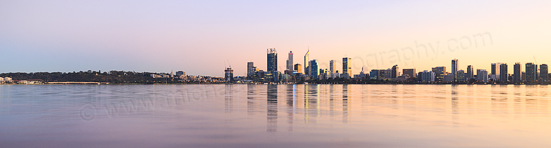 Perth and the Swan River at Sunrise, 1st June 2016