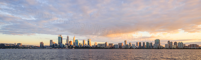Perth and the Swan River at Sunrise, 6th June 2016