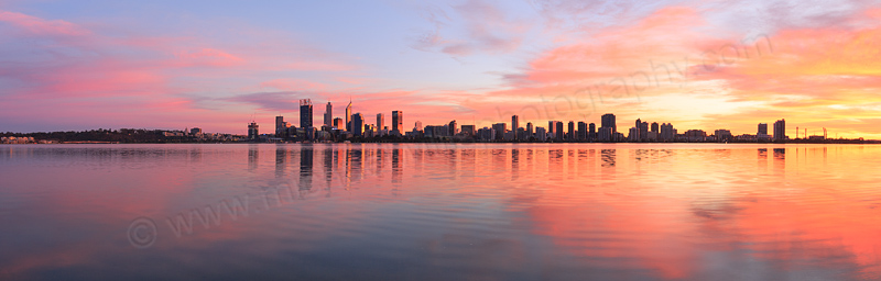 Perth and the Swan River at Sunrise, 11th June 2016