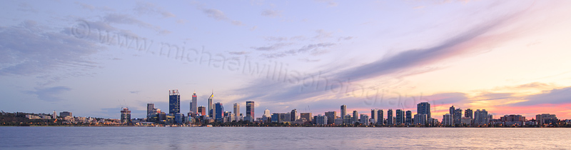 Perth and the Swan River at Sunrise, 12th June 2016