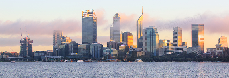 Perth and the Swan River at Sunrise, 14th June 2016