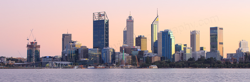 Perth and the Swan River at Sunrise, 18th June 2016