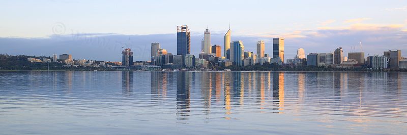 Perth and the Swan River at Sunrise, 21st June 2016