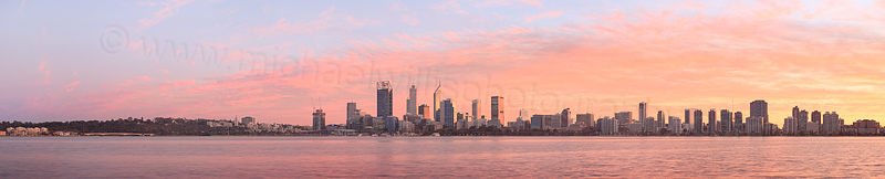 Perth and the Swan River at Sunrise, 27th June 2016