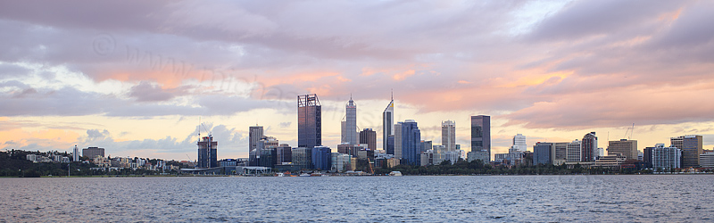 Perth and the Swan River at Sunrise, 28th June 2016