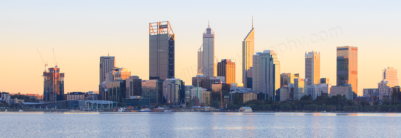Perth and the Swan River at Sunrise, 2nd July 2016