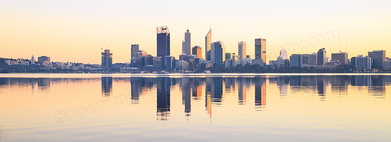 Perth and the Swan River at Sunrise, 3rd July 2016