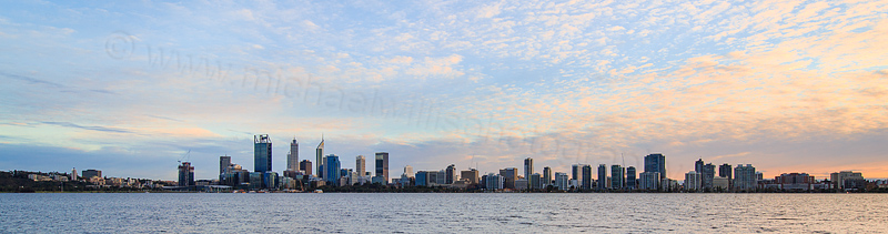 Perth and the Swan River at Sunrise, 6th July 2016