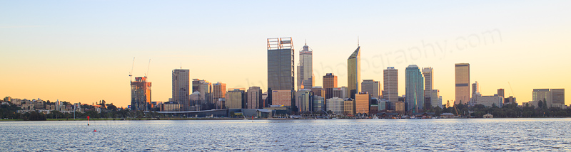 Perth and the Swan River at Sunrise, 13th July 2016