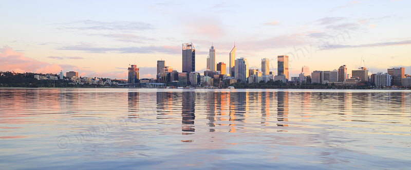 Perth and the Swan River at Sunrise, 18th July 2016