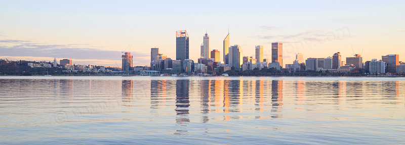 Perth and the Swan River at Sunrise, 19th July 2016