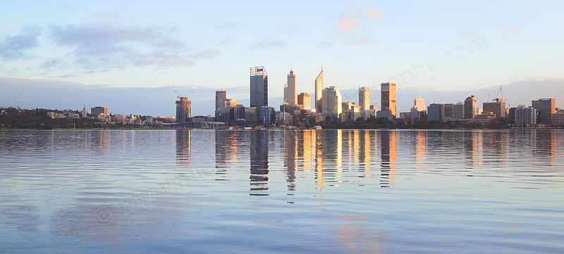 Perth and the Swan River at Sunrise, 22nd July 2016