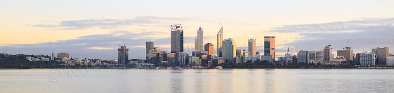 Perth and the Swan River at Sunrise, 25th July 2016