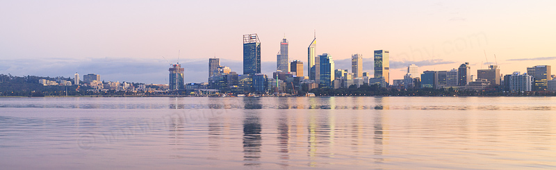 Perth and the Swan River at Sunrise, 26th July 2016