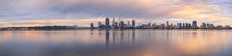 Perth and the Swan River at Sunrise, 28th July 2016