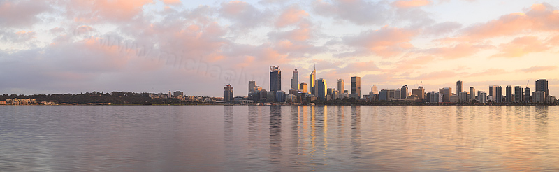 Perth and the Swan River at Sunrise, 30th July 2016