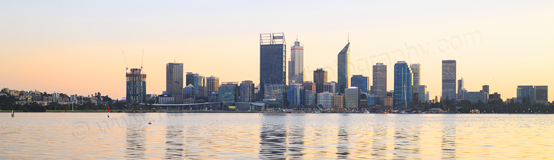 Perth and the Swan River at Sunrise, 1st August 2016