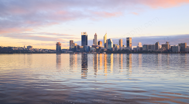 Perth and the Swan River at Sunrise, 5th August 2016