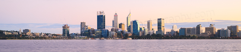 Perth and the Swan River at Sunrise, 6th August 2016