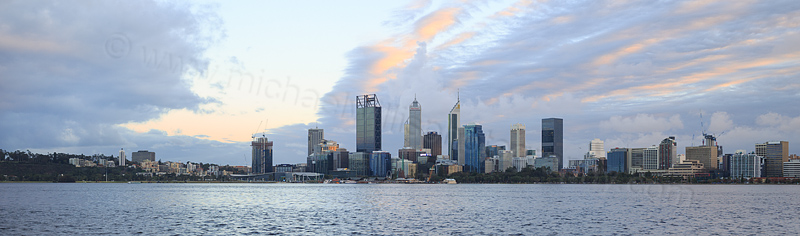 Perth and the Swan River at Sunrise, 15th August 2016