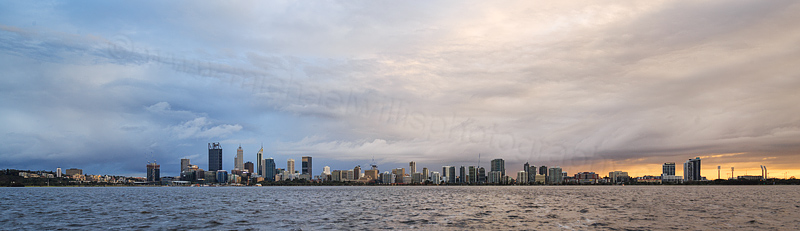 Perth and the Swan River at Sunrise, 17th August 2016