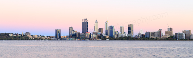 Perth and the Swan River at Sunrise, 1st January 2017