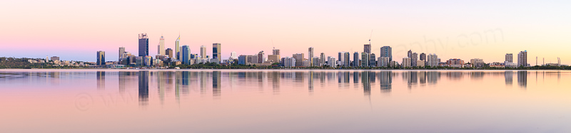 Perth and the Swan River at Sunrise, 25th January 2017