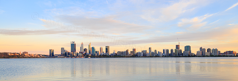 Perth and the Swan River at Sunrise, 1st February 2017